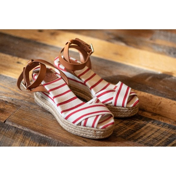 Tory Burch Karissa Wedge in Red and Cream